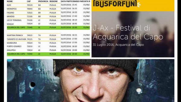 Al Festival di Acquarica si arriva anche con Bus For Fun